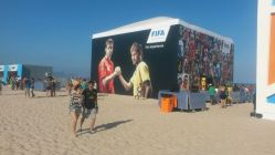 El Fifa Fan Fest de Copacabana está asentado en la playa. Foto: Pablo Ruybal.