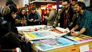San Spiga es uno de los artistas que participa de forma habitual en el ART Sale. Combina en sus trabajos técnicas de impresión tipográfica, serigrafía y stencil.